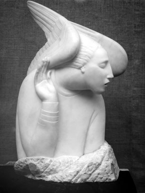 Ivan Meštrovic (Croatian, 1883-1962). <em>Archangel Gabriel</em>, 1918. Marble, 37 13/16 x 20 1/2 x 9 13/16 in. (96 x 52.1 x 24.9 cm). Brooklyn Museum, Robert B. Woodward Memorial Fund, 24.280. Creative Commons-BY (Photo: Brooklyn Museum, 24.280_bw.jpg)