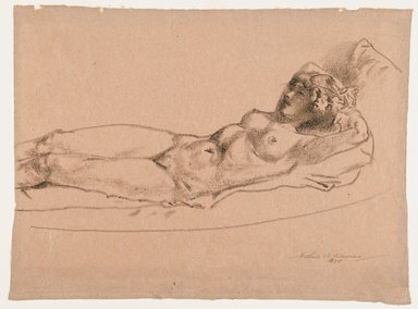 Arthur B. Davies (American, 1862-1928). <em>Figure of a Reclining Nude</em>, 1924. Crayon on rose-colored paper, Sheet: 13 1/2 x 18 1/4 in. (34.3 x 46.4 cm). Brooklyn Museum, Gift of Frank L. Babbott, 24.282. © artist or artist's estate (Photo: Brooklyn Museum, 24.282_PS6.jpg)