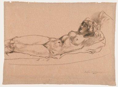 Arthur B. Davies (American, 1862-1928). <em>Figure of a Reclining Nude</em>, 1924. Crayon on rose-colored paper, Sheet: 13 1/2 x 18 1/4 in. (34.3 x 46.4 cm). Brooklyn Museum, Gift of Frank L. Babbott, 24.282. © artist or artist's estate (Photo: Brooklyn Museum, 24.282_PS6.jpg)