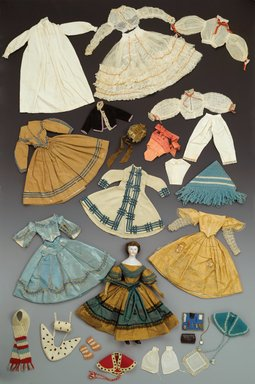 <em>Doll and Wardrobe, Sanitary Fair</em>, 1864., Doll (approximate height): 12 in. (30.5 cm). Brooklyn Museum, Gift of Mrs. Ira B. Downs, 24.311mn. Creative Commons-BY (Photo: , 24.311_PS1.jpg)