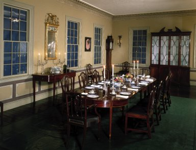 Edward Tongue. <em>Cane Acres, The Perry Plantation</em>, ca. 1789-1806. Wood, paint Brooklyn Museum, West Virginia Pulp and Paper Company, 24.421. Creative Commons-BY (Photo: Brooklyn Museum, 24.421_yr1982_installation_dining_room_IMLS_SL2.jpg)