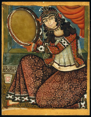 Unknown. <em>Lady with Tambourine</em>, 19th century. Oil painting, 30 x 24 in. (76.2 x 61 cm). Brooklyn Museum, Museum Collection Fund, 24.435.1 (Photo: Brooklyn Museum, 24.435.1_IMLS_SL2.jpg)