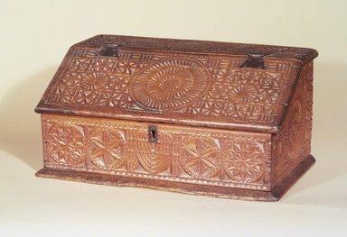 American. <em>Desk Box</em>, ca. 1675-1700. White pine, 9 x 19 x 11 1/4 in. (22.9 x 48.3 x 28.6 cm). Brooklyn Museum, Robert B. Woodward Memorial Fund, 24.436. Creative Commons-BY (Photo: Brooklyn Museum, 24.436.jpg)
