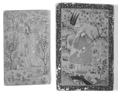 <em>Mirror Case</em>, 17th century. Lacquer, paper mache, Mirror case: 6 7/8 x 10 1/4 in. (17.5 x 26 cm). Brooklyn Museum, Museum Purchase Fund, 24.444. Creative Commons-BY (Photo: Brooklyn Museum, 24.444_outside_back_bw.jpg)