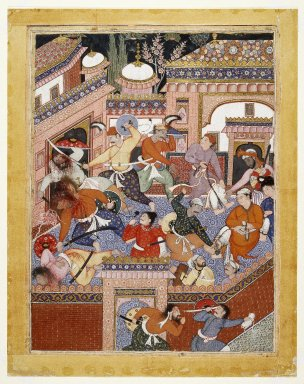 Indian. <em>Led by Songhur Balkhi and Lulu the Spy, the Ayyars Slit the Throats of Prison Guards and Free Sa'id Farrukh-Nizhad</em>, 1557-1572. Opaque watercolor and gold on cotton cloth, sheet: 30 7/8 x 24 1/2 in.  (78.4 x 62.2 cm). Brooklyn Museum, Museum Collection Fund, 24.46 (Photo: Brooklyn Museum, 24.46_IMLS_SL2.jpg)