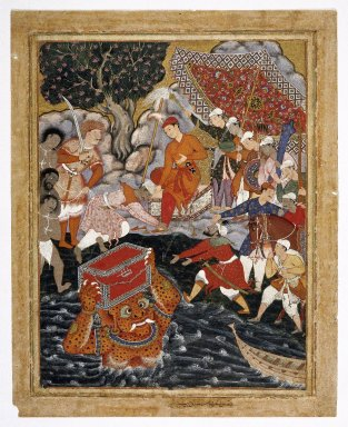 Indian. <em>Arghan Div Brings the Chest of Armor to Hamza</em>, 1562-1577. Opaque watercolor and gold on cotton, sheet: 31 1/8 x 24 15/16 in.  (79.1 x 63.3 cm). Brooklyn Museum, Museum Collection Fund, 24.47 (Photo: Brooklyn Museum, 24.47_front_IMLS_SL2.jpg)