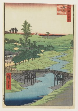 Utagawa Hiroshige (Ando) (Japanese, 1797-1858). <em>Furukawa River, Hiroo, from the series One Hundred Famous Views of Edo</em>, July, 1856. Color woodblock print on paper, Sheet: 13 3/8 x 9 1/4 in.  (34.0 x 23.5 cm);. Brooklyn Museum, Gift of Henry B. and Adrian Van Sinderen, 24.550.2 (Photo: Brooklyn Museum, 24.550.2_IMLS_PS3.jpg)
