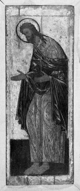 Unknown. <em>St. John the Evangelist</em>. Painting on wood panel, 59 7/8 x 23 1/4 in.  (152.1 x 59.1 cm). Brooklyn Museum, Gift of Frank L. Babbott, 24.59 (Photo: Brooklyn Museum, 24.59_acetate_bw.jpg)
