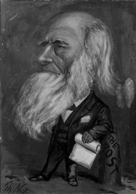 Thomas Nast (American, 1840-1902). <em>Caricature of William Cullen Bryant</em>, 1866. Oil, 47 15/16 x 35 3/4 in. (121.7 x 90.8 cm). Brooklyn Museum, Gift of Henry Moses, 24.67 (Photo: Brooklyn Museum, 24.67_bw.jpg)