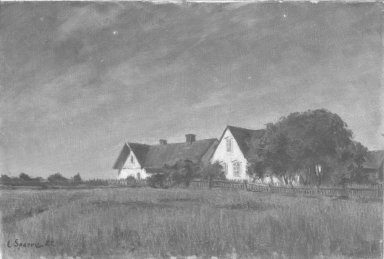 Louis Sparre (Swedish, 1863-1964). <em>Cottages in Moonlight (Stugor i månsken)</em>, 1922. Oil on canvas