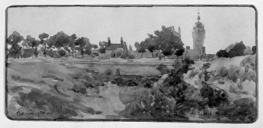 Georges Barrière (French, 1881-1944). <em>The Belfry of Berques</em>, September 1917. Watercolor, 3 1/2 x 8 1/16 in.  (8.9 x 20.5 cm). Brooklyn Museum, Gift of Frank L. Babbott, 24.83 (Photo: Brooklyn Museum, 24.83_bw.jpg)