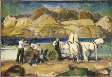 George Wesley Bellows (American, 1882-1925). <em>The Sand Cart</em>, 1917. Oil on canvas, 30 1/4 x 44 1/16 in. (76.8 x 111.9 cm). Brooklyn Museum, John B. Woodward Memorial Fund, 24.85 (Photo: Brooklyn Museum, 24.85_SL1.jpg)