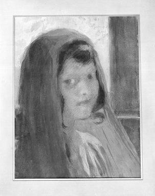 Albert Besnard (French, 1849-1934). <em>Portrait of a Little Italian Girl</em>, 1921. Watercolor, 12 3/16 x 9 3/8 in.  (31.0 x 23.8 cm). Brooklyn Museum, 24.86 (Photo: Brooklyn Museum, 24.86_glass_bw.jpg)