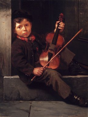 John George Brown (American, born England, 1831-1913). <em>The Boy Violinist</em>, 1874. Oil on canvas, 39 15/16 x 30 3/16 in. (101.4 x 76.7 cm). Brooklyn Museum, Gift of Henry B. and Adrian Van Sinderen, 24.88 (Photo: Brooklyn Museum, 24.88_transp3193.jpg)