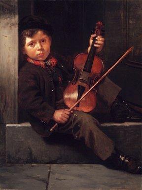 John George Brown (American, born England, 1831-1913). <em>The Boy Violinist</em>, 1874. Oil on canvas, 39 15/16 x 30 3/16 in. (101.4 x 76.7 cm). Brooklyn Museum, Gift of Henry B. and Adrian Van Sinderen, 24.88 (Photo: Brooklyn Museum, 24.88_transp3193.jpg)
