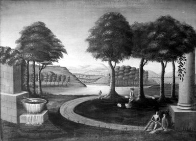 American. <em>Decorative Landscape, After Michele Felice Corne</em>, ca. 1820. Oil on canvas, 32 5/8 x 44 7/8 in. (82.8 x 114 cm). Brooklyn Museum, Henry L. Batterman Fund, 24.89 (Photo: Brooklyn Museum, 24.89_bw.jpg)
