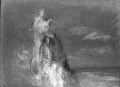 Arthur B. Davies (American, 1862-1928). <em>The Spirit of the Dunes</em>. Pastel on gray paper, 8 3/4 x 12 1/2 in. (22.2 x 31.8 cm). Brooklyn Museum, Gift of Frank L. Babbott, 24.90. © artist or artist's estate (Photo: Brooklyn Museum, 24.90_acetate_bw.jpg)