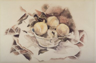 Charles Demuth (American, 1883-1935). <em>Still Life with Peaches</em>, ca. 1922. Watercolor over graphite on cream, moderately thick, moderately textured wove paper, 12 x 18 1/8 in. (30.5 x 46 cm). Brooklyn Museum, Gift of Alfred W. Jenkins, 24.91 (Photo: Brooklyn Museum, 24.91.jpg)
