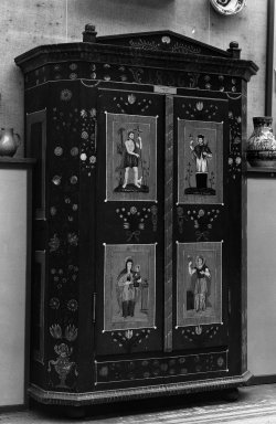 Slovakian. <em>Cabinet</em>. Painted wood. Brooklyn Museum, 24920. Creative Commons-BY (Photo: Brooklyn Museum, 24920_glass_bw.jpg)