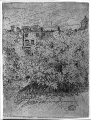 Julian Alden Weir (American, 1852-1919). <em>My Backyard, Number Two</em>, 1890. Etching and drypoint on laid paper, 7 7/8 x 5 15/16 in. (20 x 15.1 cm). Brooklyn Museum, Gift of Elizabeth Luther Cary, 25.102 (Photo: Brooklyn Museum, 25.102_view1_bw.jpg)