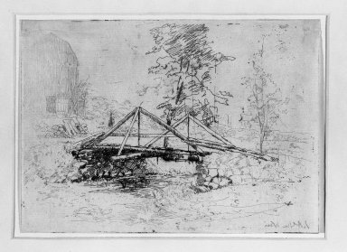 Julian Alden Weir (American, 1852-1919). <em>The Wooden Bridge</em>, 19th century. Etching on thin Japan paper, 5 1/16 x 7 in. (12.9 x 17.8 cm). Brooklyn Museum, Gift of Elizabeth Luther Cary, 25.103 (Photo: Brooklyn Museum, 25.103_bw.jpg)