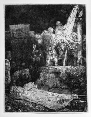 Rembrandt Harmensz. van Rijn (Dutch, 1606-1669). <em>The Descent from the Cross by Torchlight</em>, 1654. Etching and drypoint on laid paper, Plate: 8 1/4 x 6 3/8 in. (21 x 16.2 cm). Brooklyn Museum, Gift of Mrs. Frederic B. Pratt, 25.116 (Photo: Brooklyn Museum, 25.116_bw.jpg)