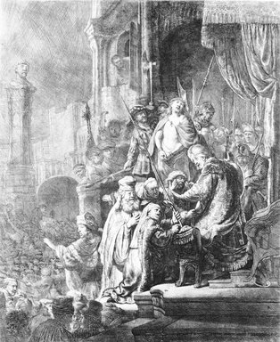 Rembrandt Harmensz. van Rijn (Dutch, 1606-1669). <em>Christ Before Pilate: Large Plate</em>, 1635-1636. Etching on laid paper, Plate: 21 7/8 x 17 3/4 in. (55.6 x 45.1 cm). Brooklyn Museum, Gift of Mrs. Frederic B. Pratt, 25.122 (Photo: Brooklyn Museum, 25.122_bw_SL4.jpg)