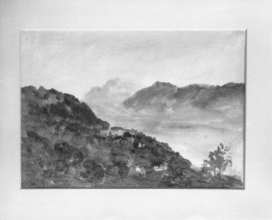 Hercules Brabazon Brabazon (British, 1821-1906). <em>An Italian Lake</em>, n.d. Watercolor, 9 13/16 x 13 3/4 in.  (24.9 x 34.9 cm). Brooklyn Museum, Gift of Frank L. Babbott, 25.131 (Photo: Brooklyn Museum, 25.131_glass_bw.jpg)