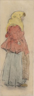 Jerome Myers (American, 1867-1940). <em>The Market Woman</em>, ca. 1912. Etching with colored inks on wove paper, Sheet: 10 13/16 x 4 7/8 in. (27.5 x 12.4 cm). Brooklyn Museum, Brooklyn Museum Collection, 25.132. © artist or artist's estate (Photo: Brooklyn Museum, 25.132.jpg)