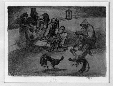 "George ""Pop"" Hart (American, 1868-1933). <em>Gamblers</em>, 1924. Lithograph Brooklyn Museum, Gift of the artist, 25.139. © artist or artist's estate (Photo: Brooklyn Museum, 25.139_glass_bw.jpg)"
