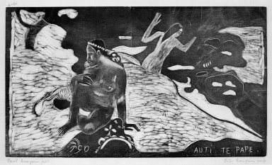 Paul Gauguin (French, 1848-1903). <em>Auti Te Pape (Women at the River)</em>, carved winter 1893-1894; printed 1921. Woodcut on China paper, Image: 8 x 14 in. (20.3 x 35.6 cm). Brooklyn Museum, Museum Collection Fund, 25.145 (Photo: Brooklyn Museum, 25.145_bw.jpg)