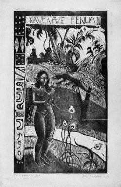 Paul Gauguin (French, 1848-1903). <em>Nave Nave Fenua (Fragrant Isle)</em>, carved winter 1893-1894; printed 1921. Woodcut on wove China paper, Image: 13 15/16 x 8 1/16 in. (35.4 x 20.5 cm). Brooklyn Museum, Museum Collection Fund, 25.146 (Photo: Brooklyn Museum, 25.146_bw.jpg)