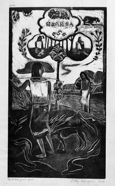 Paul Gauguin (French, 1848-1903). <em>Noa Noa (Fragrant Scent)</em>, carved winter 1893-1894; printed 1921. Woodcut on China paper, Image: 14 x 8 1/16 in. (35.6 x 20.5 cm). Brooklyn Museum, Museum Collection Fund, 25.147 (Photo: Brooklyn Museum, 25.147_bw.jpg)