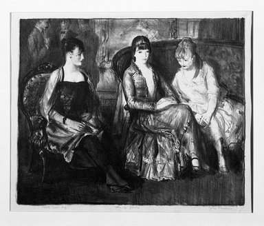 George Wesley Bellows (American, 1882-1925). <em>Elsie, Emma and Marjorie, Second Stone</em>, 1921. Lithograph on thin gray China paper, Sheet: 13 x 15 9/16 in. (33 x 39.5 cm). Brooklyn Museum, Museum Collection Fund, 25.148 (Photo: Brooklyn Museum, 25.148_bw.jpg)