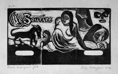 "Paul Gauguin (French, 1848-1903). <em>Head Piece for ""Le Sourire"" (Titre pour ""Le Sourire"")</em>, carved 1899; printed 1921. Woodcut on China paper, Sheet: 10 7/16 x 16 1/4 in. (26.5 x 41.3 cm). Brooklyn Museum, Museum Collection Fund, 25.151 (Photo: Brooklyn Museum, 25.151_bw.jpg)"