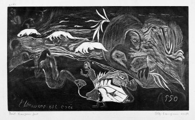 Paul Gauguin (French, 1848-1903). <em>The Creation of the Universe (L'Univers est crée)</em>, carved winter 1893-1894; printed 1921. Woodcut on China paper, Sheet: 10 11/16 x 16 9/16 in. (27.1 x 42.1 cm). Brooklyn Museum, Museum Collection Fund, 25.153 (Photo: Brooklyn Museum, 25.153_bw.jpg)