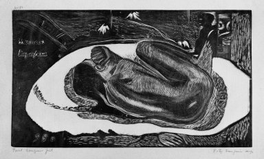Paul Gauguin (French, 1848-1903). <em>Manao Tupapau (Watched by the Spirits of the Dead)</em>, carved 1893-1894; printed 1921. Woodcut on China paper, Sheet: 10 7/16 x 16 3/8 in. (26.5 x 41.6 cm). Brooklyn Museum, Museum Collection Fund, 25.155 (Photo: Brooklyn Museum, 25.155_bw.jpg)