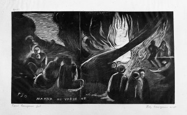Paul Gauguin (French, 1848-1903). <em>Mahna No Varua Ino (The Devil Speaks)</em>, carved 1893-1894; printed 1921. Woodcut on China paper, Sheet: 10 1/2 x 16 1/4 in. (26.7 x 41.3 cm). Brooklyn Museum, Museum Collection Fund, 25.156 (Photo: Brooklyn Museum, 25.156_bw.jpg)