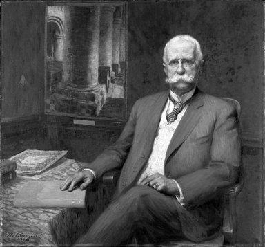 Wilford S. Conrow (American, 1880-1957). <em>Professor William H. Goodyear</em>, 1916. Oil on canvas, 42 1/8 x 45 7/8 in. (107 x 116.5 cm). Brooklyn Museum, Gift of Professor Arthur Kingsley Porter, 25.182 (Photo: Brooklyn Museum, 25.182_bw.jpg)