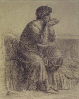 Dante Gabriel Rossetti (British, 1828-1882). <em>Dante</em>, ca. 1879. Charcoal on wove paper, 17 1/2 x 14 1/2 in. (44.5 x 36.8 cm). Brooklyn Museum, Gift of Frank L. Babbott, 25.183 (Photo: Brooklyn Museum, 25.183_transp5129.jpg)