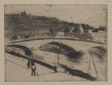 Camille Jacob Pissarro (French, 1830-1903). <em>Stone Bridge at Rouen (Le Pont de Pierre à Rouen)</em>, 1887. Drypoint and softground etching on laid paper, Sheet: 10 3/4 x 14 1/8 in. (27.3 x 35.9 cm). Brooklyn Museum, Brooklyn Museum Collection, 25.186 (Photo: , 25.186_PS9.jpg)