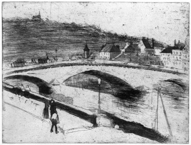 Camille Jacob Pissarro (French, 1830-1903). <em>Stone Bridge at Rouen (Le Pont de Pierre à Rouen)</em>, 1887. Drypoint and softground etching on laid paper, Sheet: 10 3/4 x 14 1/8 in. (27.3 x 35.9 cm). Brooklyn Museum, Brooklyn Museum Collection, 25.186 (Photo: Brooklyn Museum, 25.186_bw_SL1.jpg)