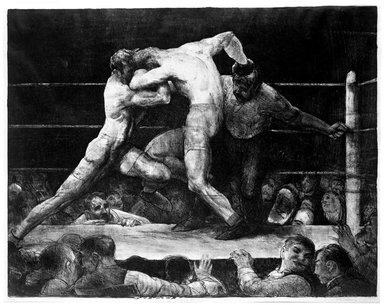 George Wesley Bellows (American, 1882-1925). <em>Stag at Sharkey's</em>, 1917. Lithograph on white wove paper, Image: 18 11/16 x 23 3/4 in. (47.5 x 60.4 cm). Brooklyn Museum, Gift of Frank L. Babbott, 25.189 (Photo: Brooklyn Museum, 25.189_bw.jpg)
