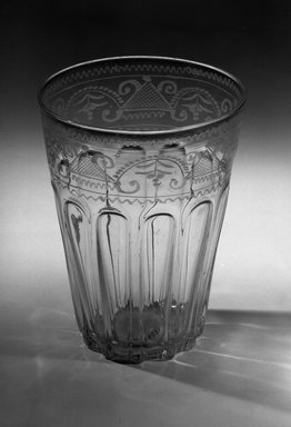 American. <em>Stiegal Type Flip</em>, 18th century. Clear glass Brooklyn Museum, Brooklyn Museum Collection, 25.237. Creative Commons-BY (Photo: Brooklyn Museum, 25.237_acetate_bw.jpg)