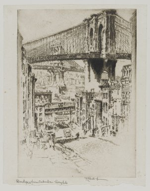 Joseph Pennell (American, 1860-1926). <em>The Bridges From Brooklyn</em>, 1921. Etching, Image: 9 3/4 x 10 3/16 in. (24.8 x 25.8 cm). Brooklyn Museum, Gift of Edward C. Blum, 25.30 (Photo: Brooklyn Museum, 25.30_PS1.jpg)