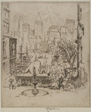 Joseph Pennell (American, 1860-1926). <em>From Clark Street to Wall Street</em>, 1924. Etching, Image: 8 7/8 x 7 1/2 in. (22.5 x 19 cm). Brooklyn Museum, Gift of Edward C. Blum, 25.34 (Photo: Brooklyn Museum, 25.34_PS2.jpg)
