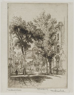 Joseph Pennell (American, 1860-1926). <em>Willow Street, Brooklyn</em>, 1924. Etching, Image: 9 13/16 x 6 15/16 in. (25 x 17.7 cm). Brooklyn Museum, Gift of the artist, 25.35 (Photo: Brooklyn Museum, 25.35_PS1.jpg)