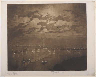 Joseph Pennell (American, 1860-1926). <em>The Bay, New York</em>, 1922. Aquatint, Image: 7 7/16 x 8 7/8 in. (18.9 x 22.6 cm). Brooklyn Museum, Gift of the artist, 25.37 (Photo: Brooklyn Museum, 25.37_PS9.jpg)