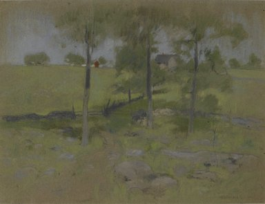 John Henry Twachtman (American, 1853-1902). <em>Three Trees</em>, ca. 1888-1895. Pastel on gray-brown, moderately thick, moderately textured wove paper with black, blue, and red threads., 14 x 18in. (35.6 x 45.7cm). Brooklyn Museum, Museum Surplus Fund, 25.416 (Photo: Brooklyn Museum, 25.416_PS2.jpg)