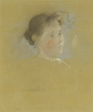 John Henry Twachtman (American, 1853-1902). <em>Study of a Head</em>, ca. 1888-1895. Pastel with touches of graphite on commercially prepared paperboard, 14 7/8 x 15 3/8 in. (37.8 x 39.1 cm). Brooklyn Museum, Museum Surplus Fund, 25.417 (Photo: Brooklyn Museum, 25.417_PS2.jpg)